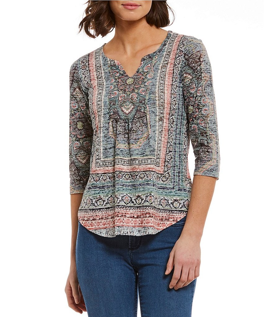 One World Apparel Petites Embellished Notch Neck Burnout Roll-Tab Sleeve Tunic