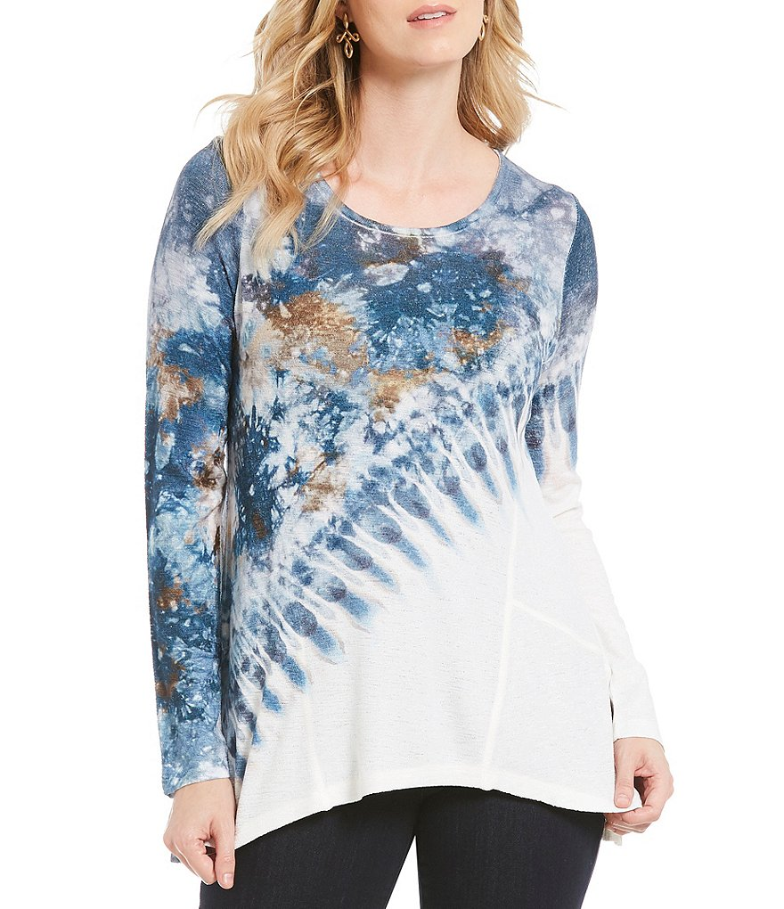 One World Apparel Petites Long Sleeve Tie Dye Print Knit Top