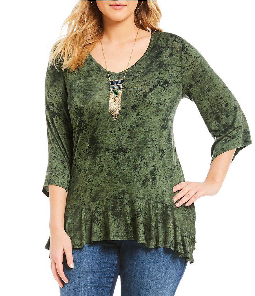 One World Apparel Plus 3/4 Flare Sleeve Flounce Hem V-Neck Necklace Top