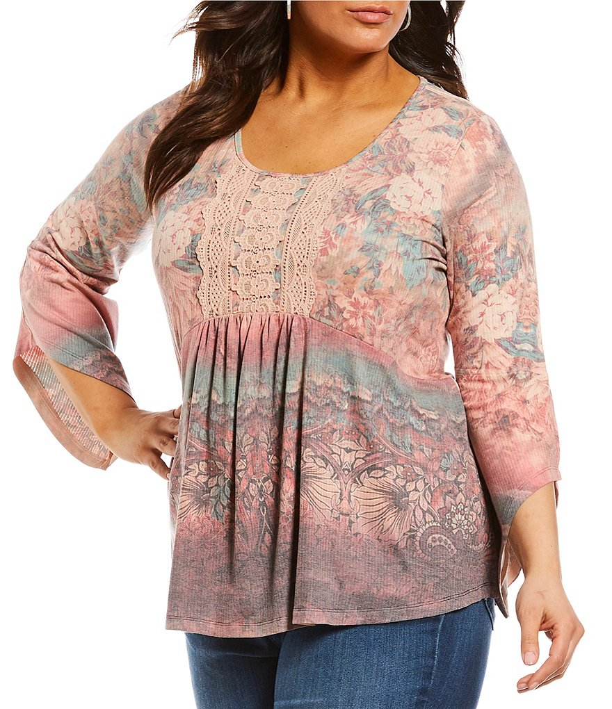 One World Apparel Plus Angel Sleeve Split Lace Trim Printed Top