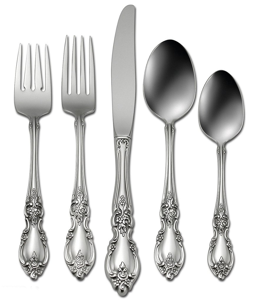 Oneida Louisiana Floral Fiddleback 45-Piece Stainless Steel Flatware Set
