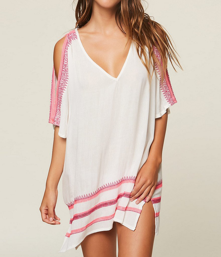 O'Neill Aurora Cold Shoulder Embroidered Swimsuit Cover-Up