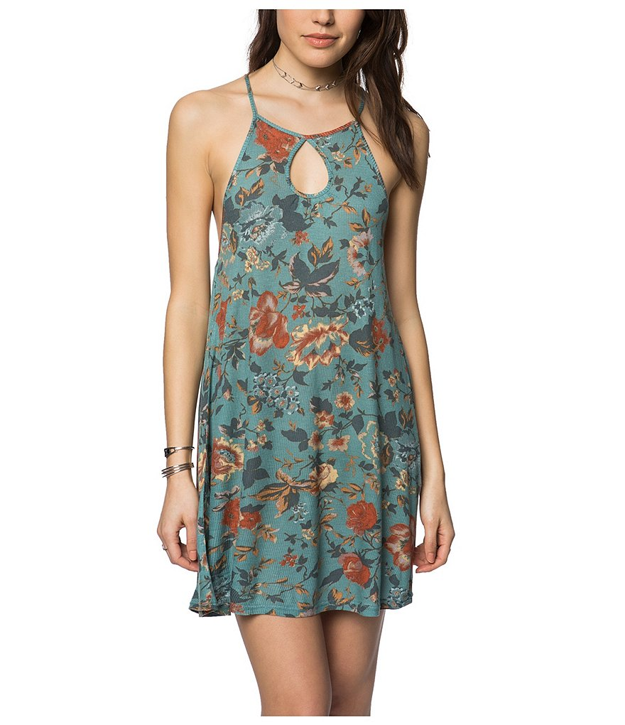 O'Neill Devora Floral Printed Keyhole Neck Swing Ribbed Knit Dress