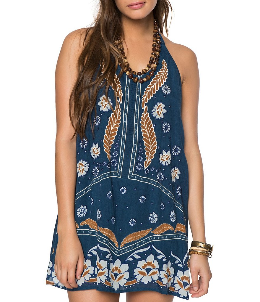 O´Neill Ellison Printed Woven Embroidered Halter Shift Dress