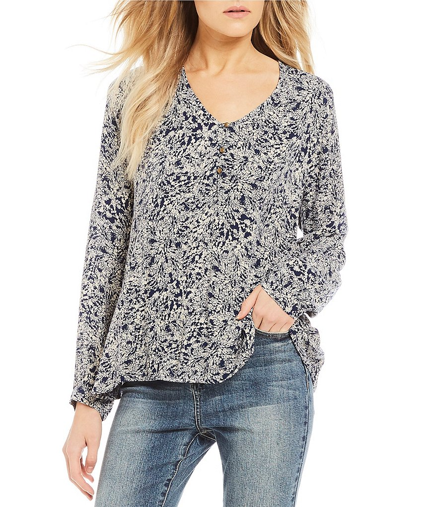 O'Neill Jocelyn Printed Long Sleeve Peasant Top