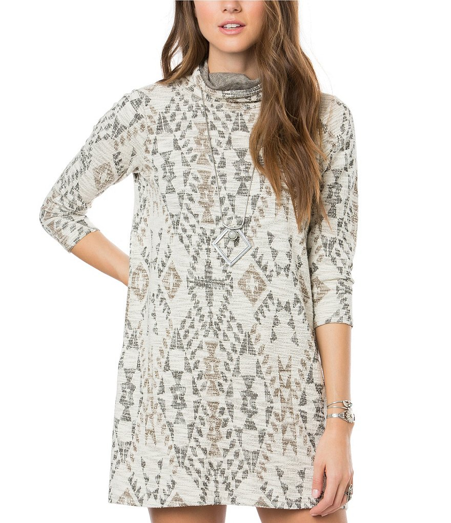 O´Neill Jovana Tribal Print Cowlneck Sheath Dress