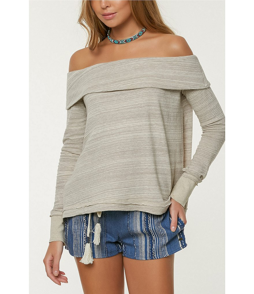 O'Neill Lhani Off-The-Shoulder Long Sleeve Knit Top
