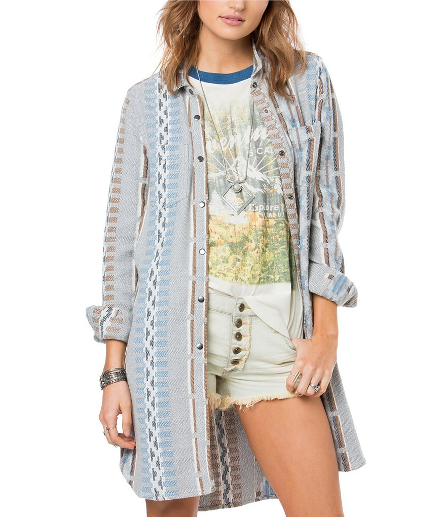 O´Neill Limekilm Tribal-Print Button-Front Long Tunic