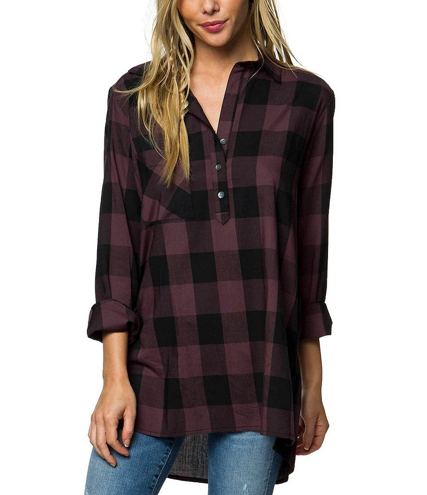 O'Neill Steller Plaid Long Sleeve Tunic
