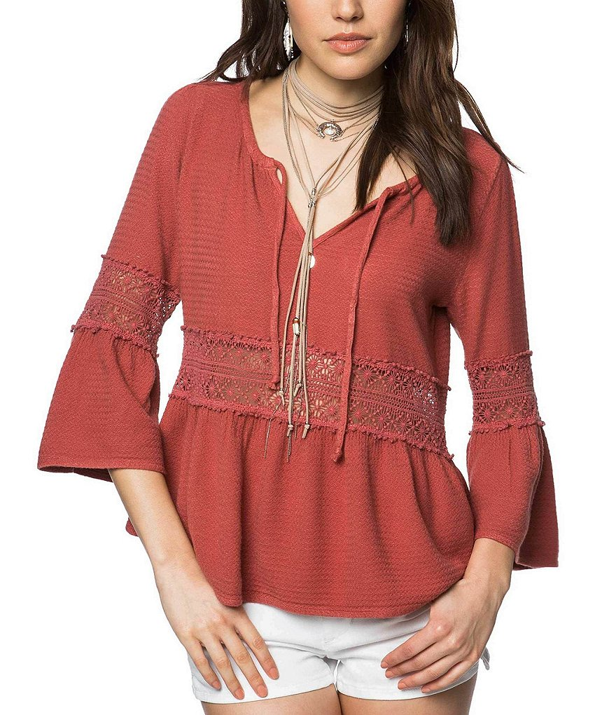 O'Neill Utah Lace Inset Bell Sleeve Peasant Top