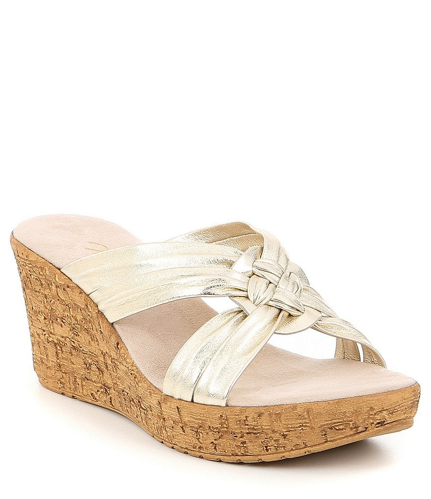 Onex Bethany Leather Wedge Slide Sandals Dillards