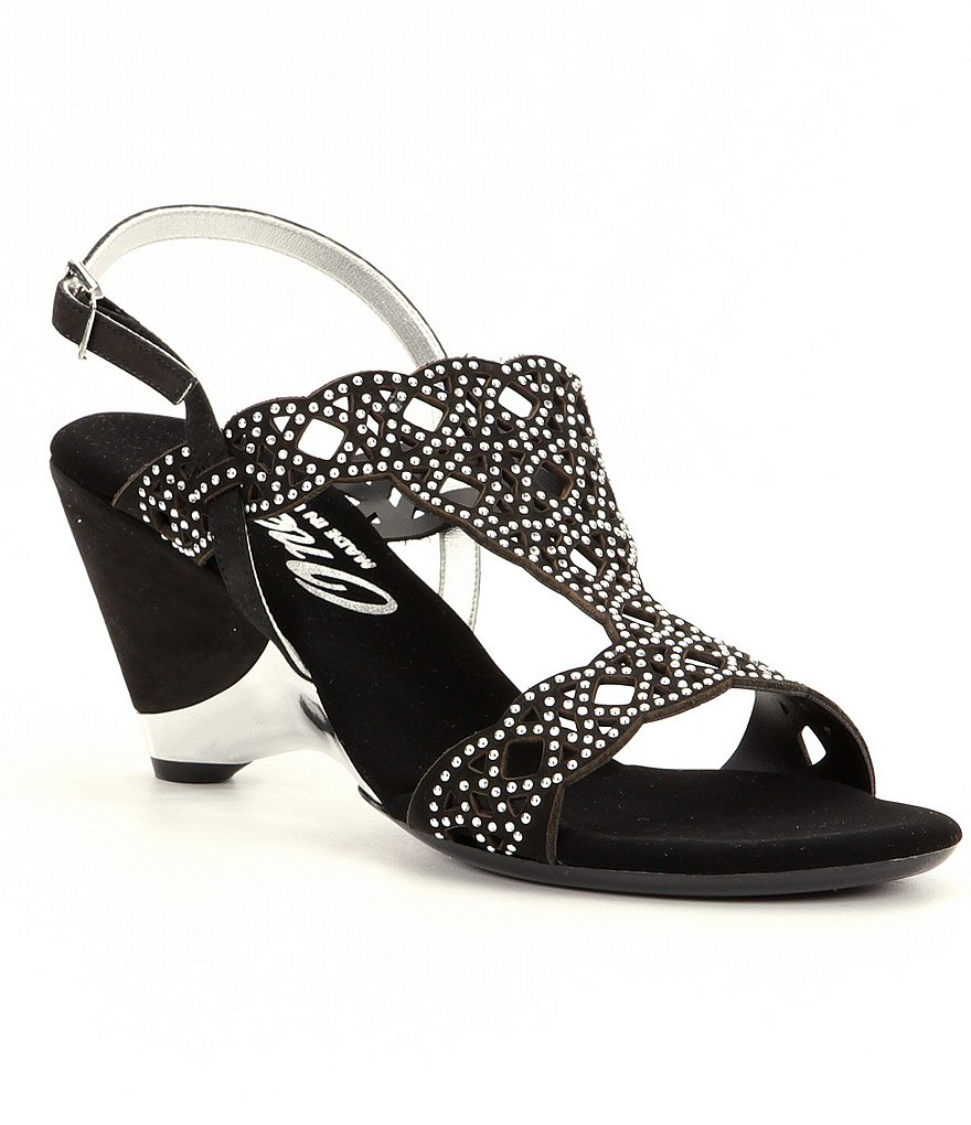 Onex Lacy Leather Rhinestone Slingback Dress Sandals
