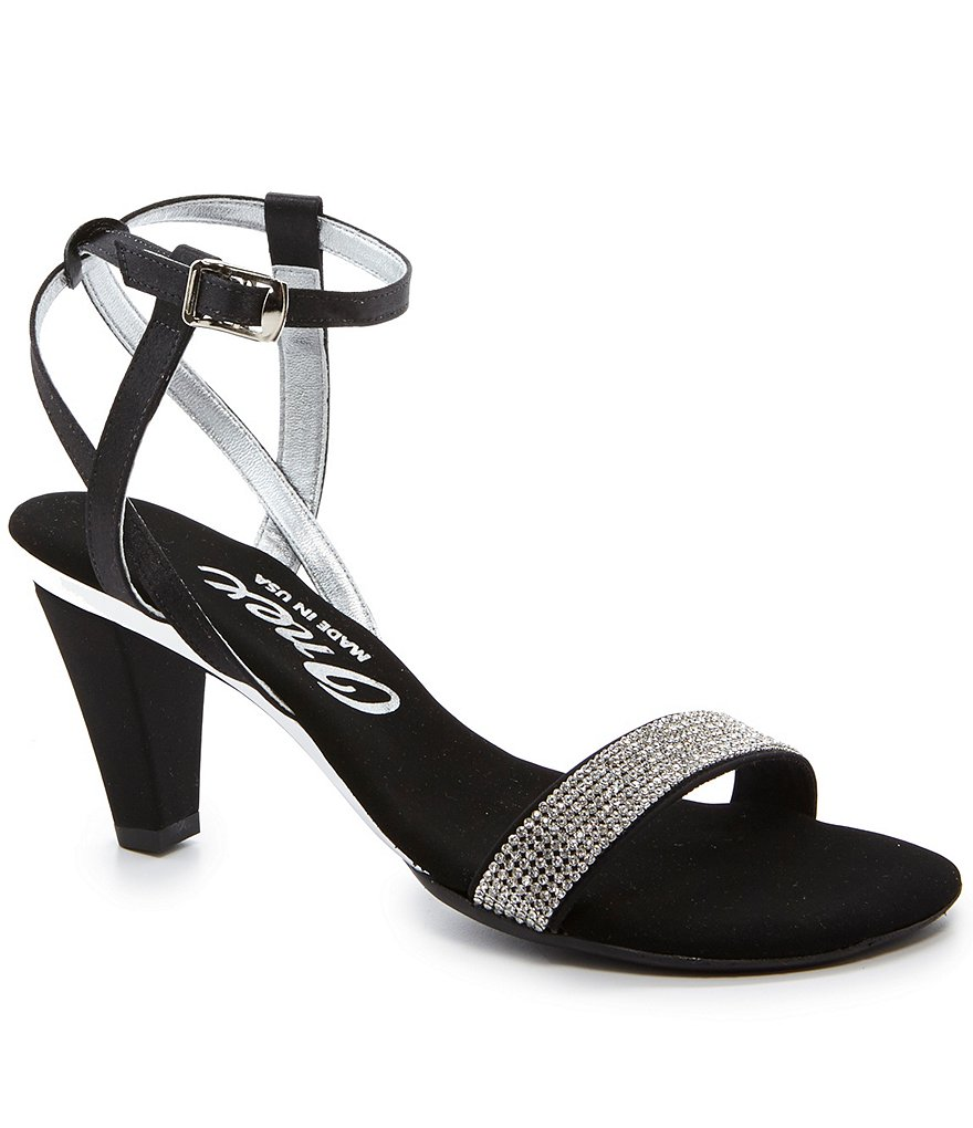 Onex Monroe Textile Jeweled Ankle Strap Dress Sandals