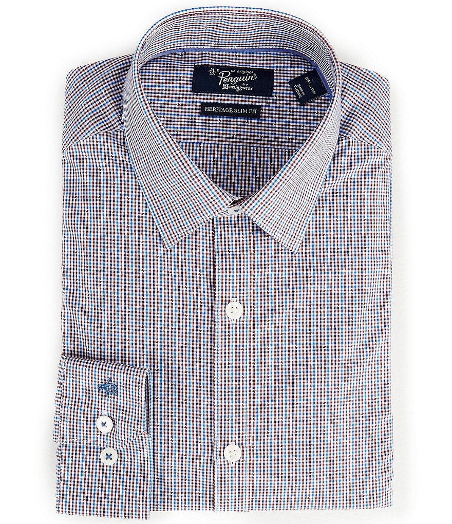 Original Penguin Heritage Slim-Fit Point-Collar Checked Dress Shirt