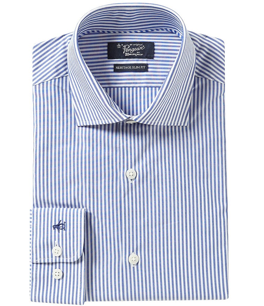Original Penguin Heritage Slim-Fit Spread-Collar Striped Dress Shirt