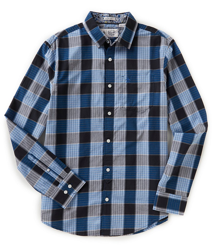 Original Penguin Jasper Slim-Fit Plaid Long-Sleeve Woven Shirt
