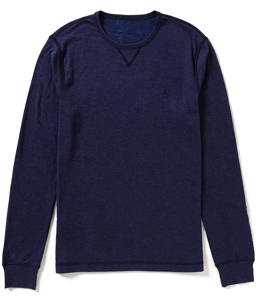 Original Penguin Long-Sleeve Horizontal-Striped/Solid Reversible Knit Shirt