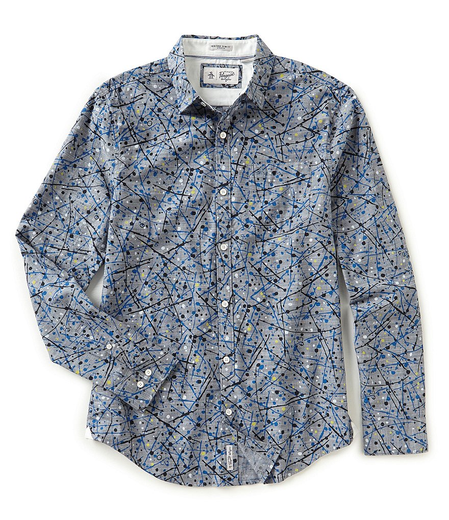 Original Penguin Slim-Fit Splatter Print Long-Sleeve Woven Shirt