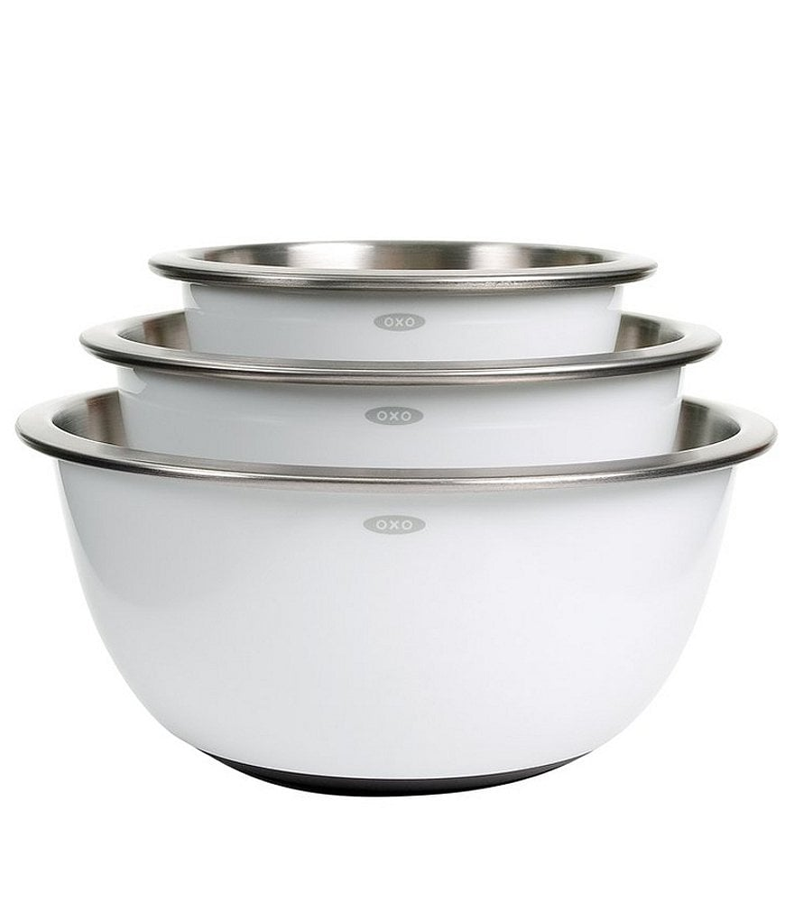 OXO International 3-Piece White Stainless Steel Mixing Bowl Set