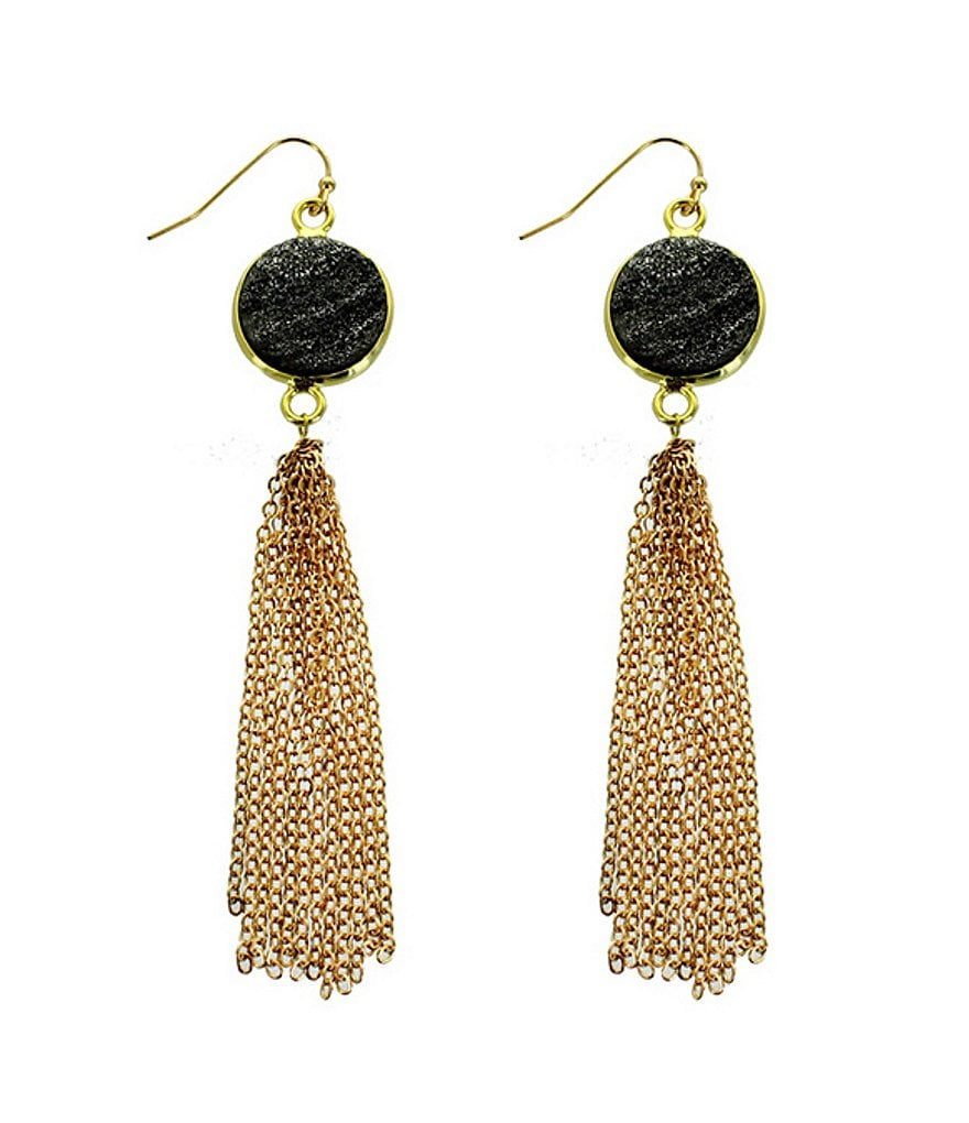 Panacea Hematite Drusy Stone Metal Fringe Statement Earrings