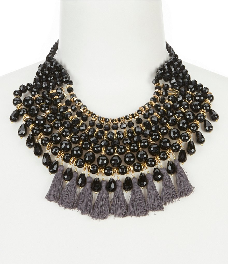 Panacea Tasseled Beaded Multi-Strand Statement Necklace