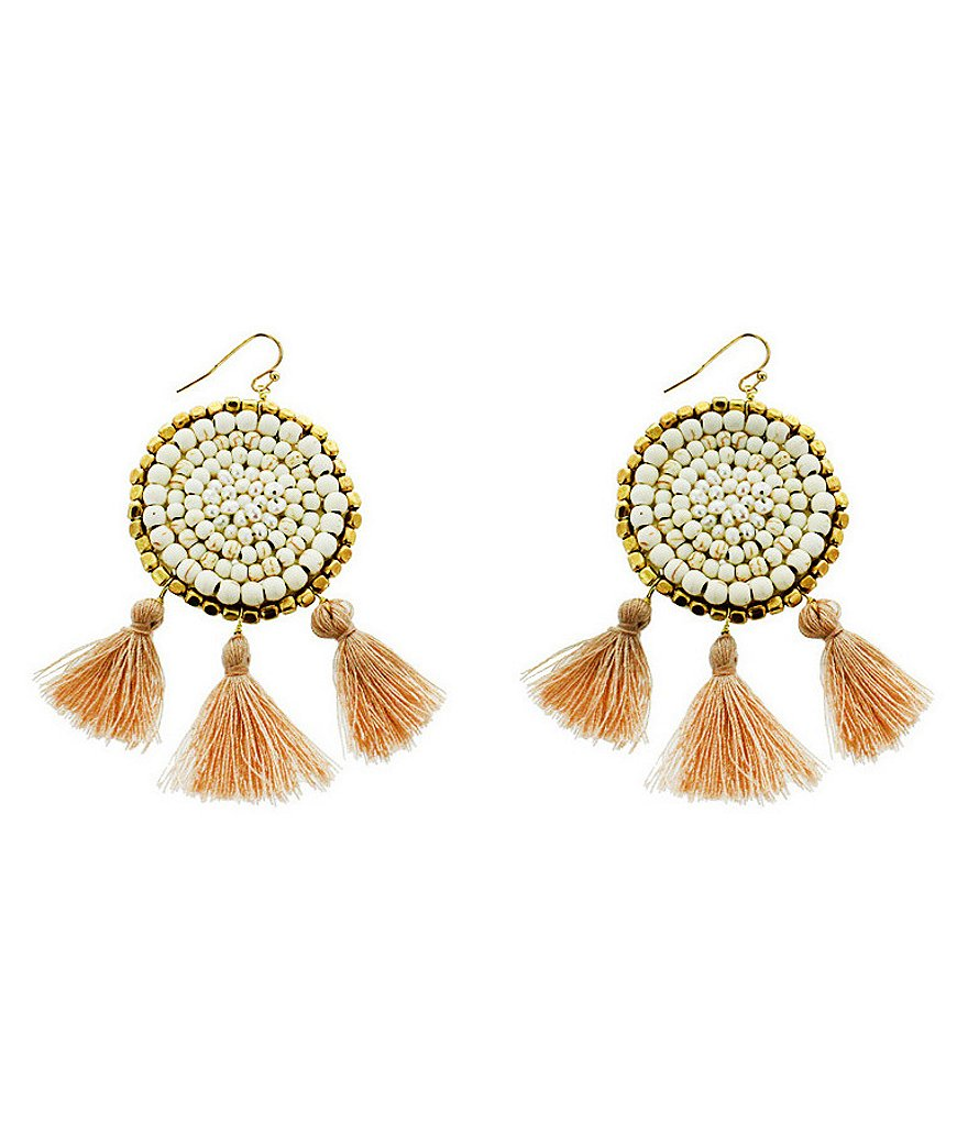 Panacea Tasseled Pearl & Howlite Statement Earrings