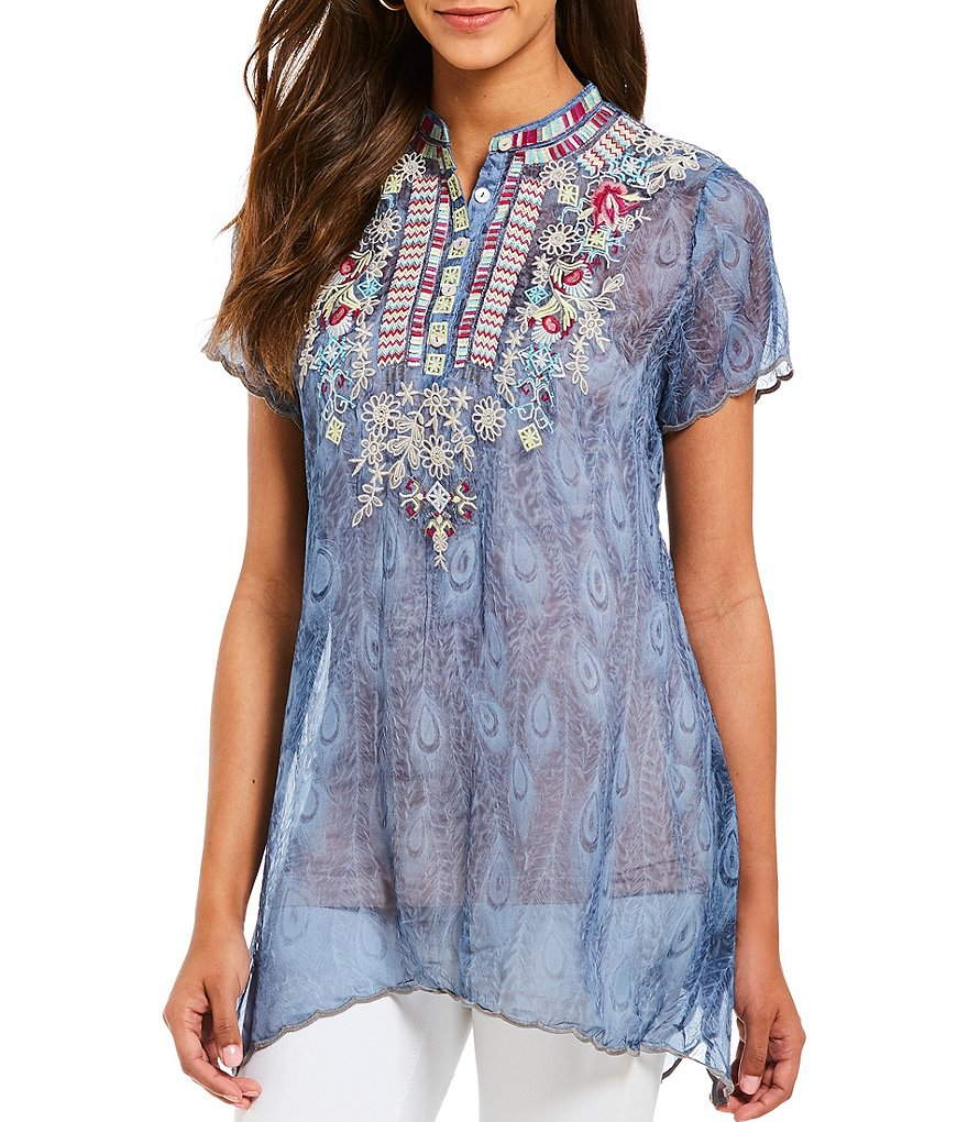 Paris Hues Embroidered Button-Front Tunic