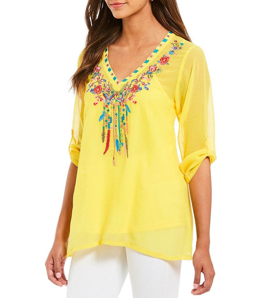 Paris Hues Embroidered V-Neck Tunic