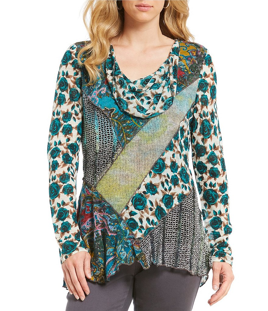 Paris Hues Mixed Print Cowl Neck Tunic