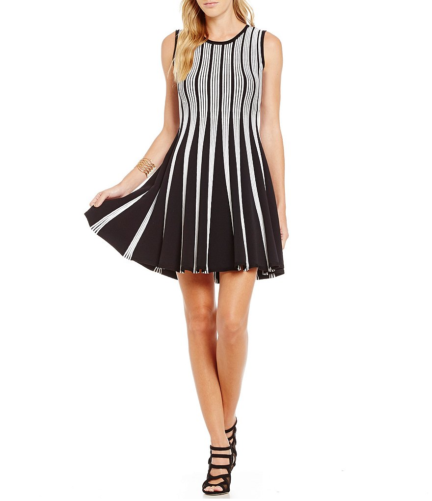 Paris Hues Striped Fit and Flare Dress