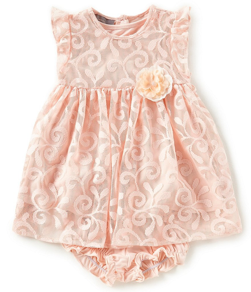 Pastourelle by Pippa & Julie Baby Girl 12-24 Months Flower Applique Lace Flutter Sleeve Dress
