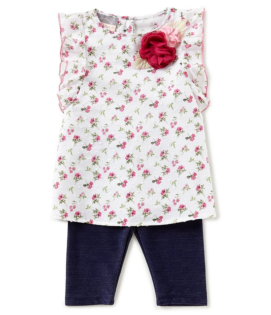 Pastourelle by Pippa & Julie Baby Girls 12-24 Months Floral-Print Applique Top & Leggings Set
