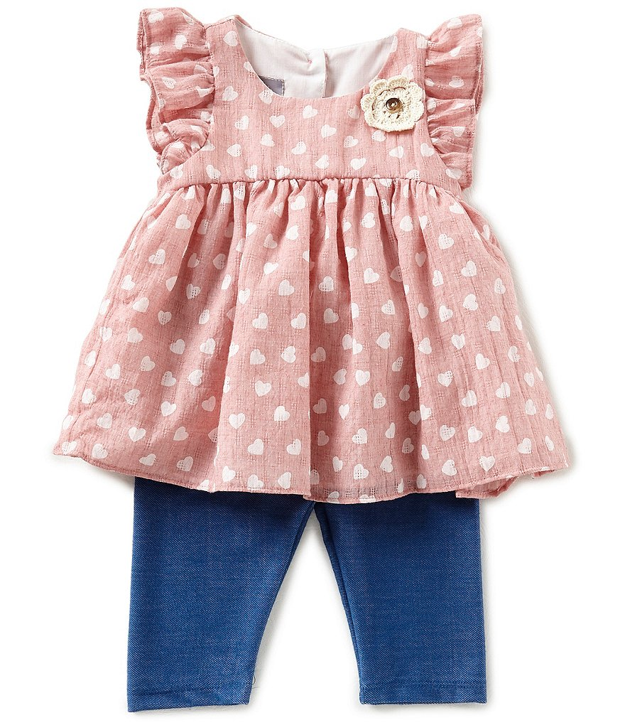 Pastourelle by Pippa & Julie Baby Girls 12-24 Months Heart-Printed Applique Top & Leggings Set