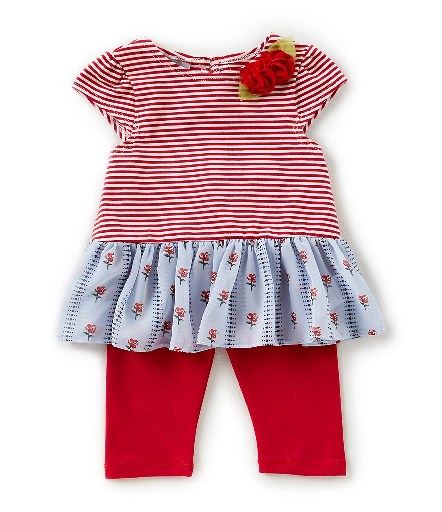 Pastourelle by Pippa & Julie Baby Girls 12-24 Months Striped Floral-Applique Top & Leggings Set