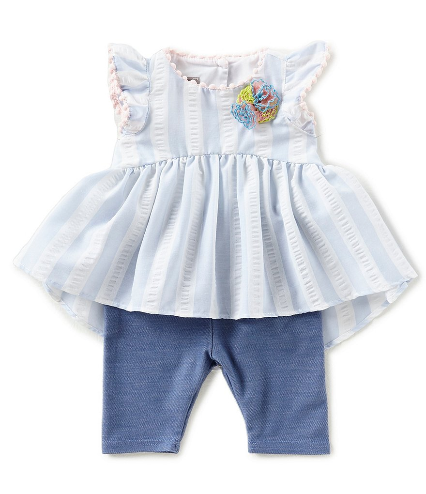 Pastourelle by Pippa & Julie Baby Girls Newborn-24 Months Striped Flower-Applique Top & Leggings Set