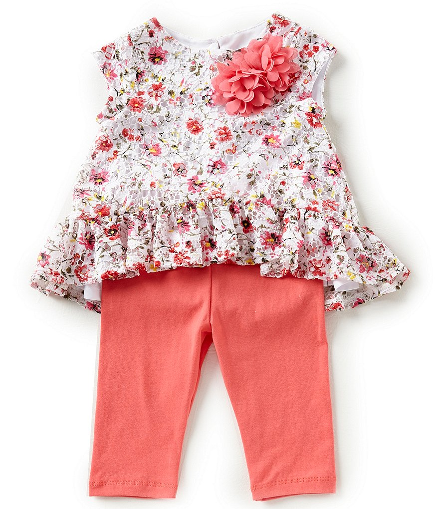 Pastourelle by Pippa & Julie Little Girls 2T-6X Floral-Applique Tunic Top & Leggings Set