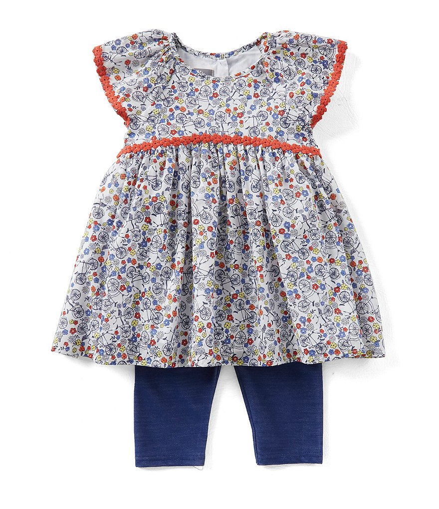 Pastourelle by Pippa & Julie Little Girls 2T-6X Floral-Print Tunic Top & Leggings Set