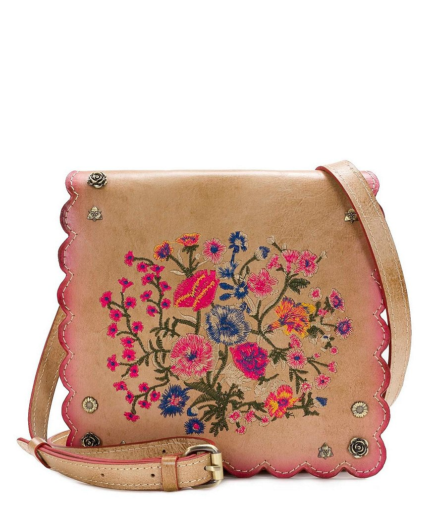 Patricia Nash Prairie Rose Embroidery Collection Granada Cross-Body Bag
