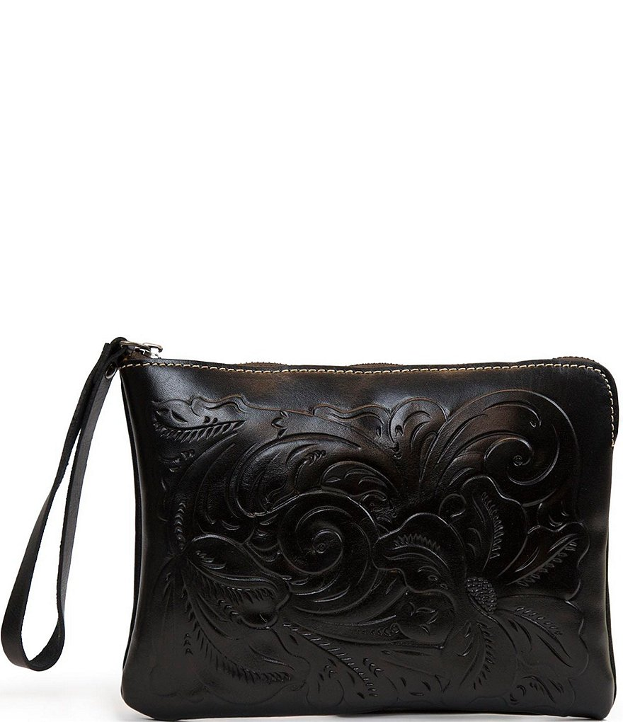 Patricia Nash Tooled Cassini Floral-Embossed Wristlet Clutch
