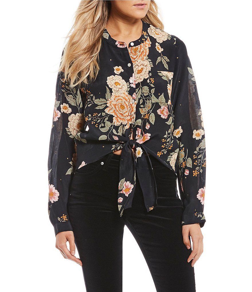 Patrons Of Peace Dark Floral Tie Front Blouse
