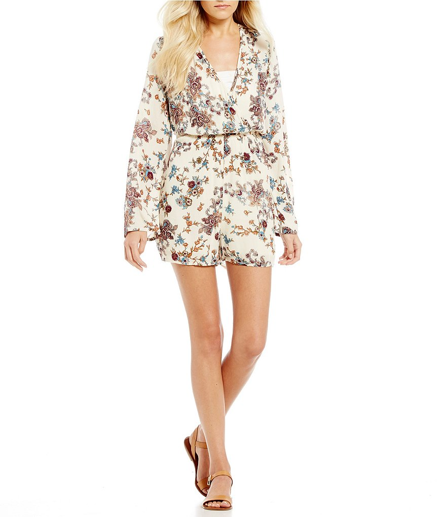 Patrons Of Peace Floral-Printed Bell Sleeve Romper