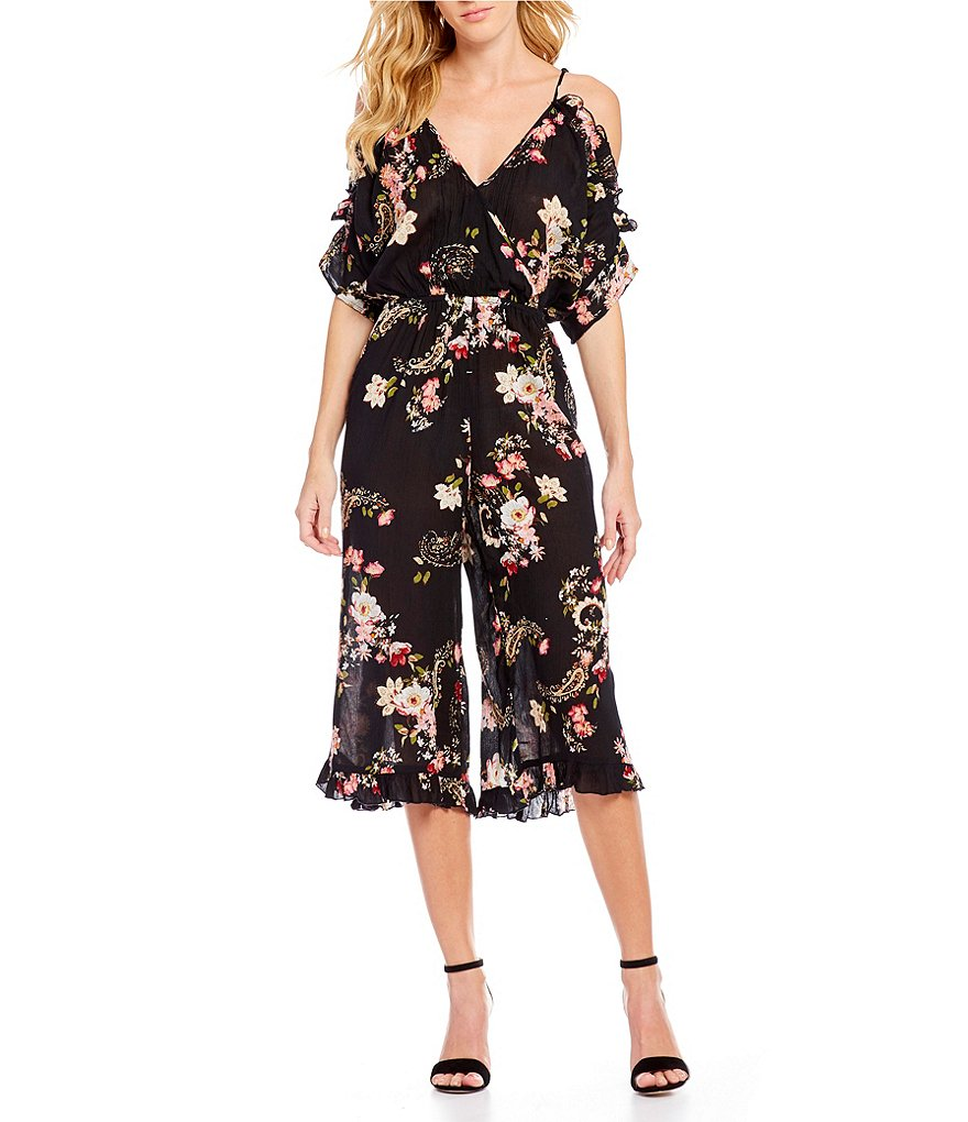 Patrons Of Peace Floral Printed Cold-Shoulder Ruflle Culotte Jumpsuit