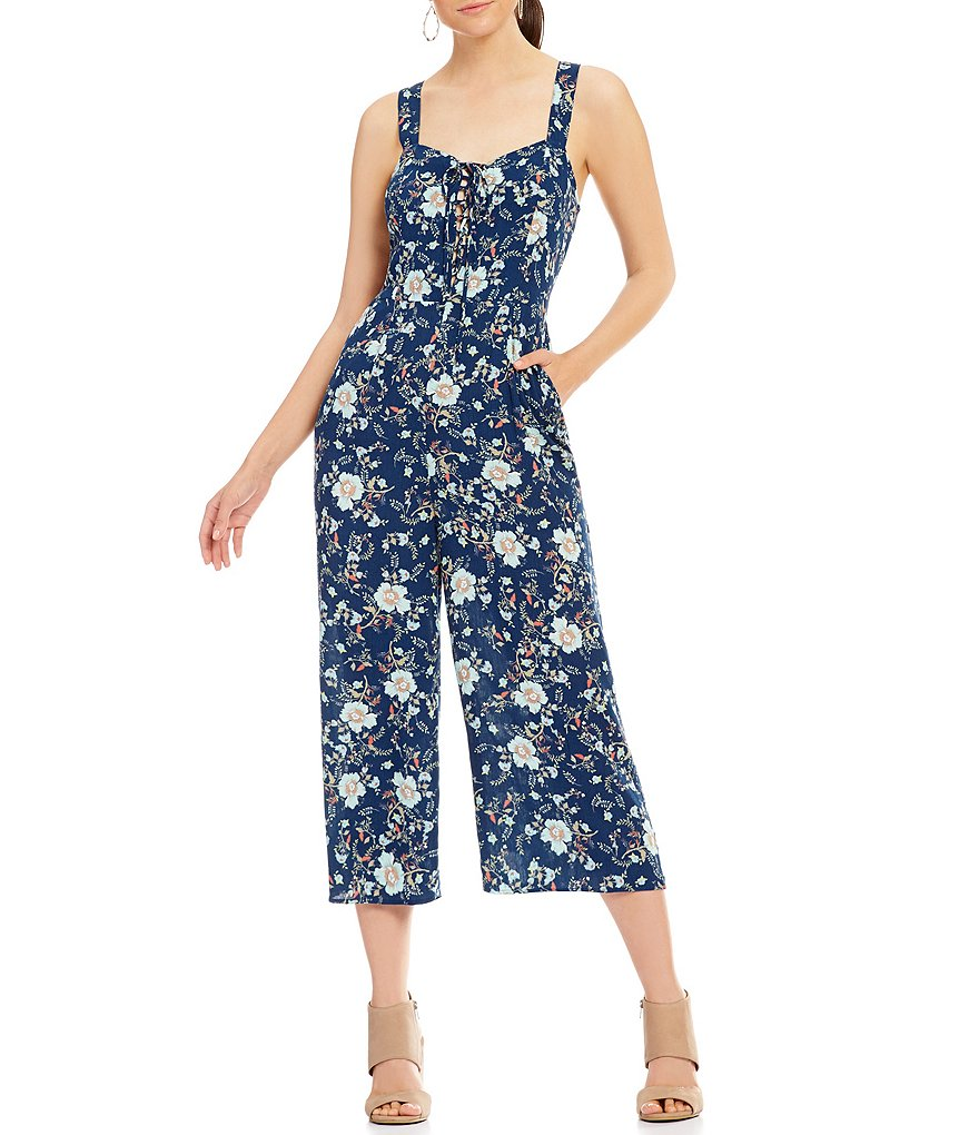 Patrons Of Peace Floral Printed Lace-Up Sleeveless Cropped Jumpsuit