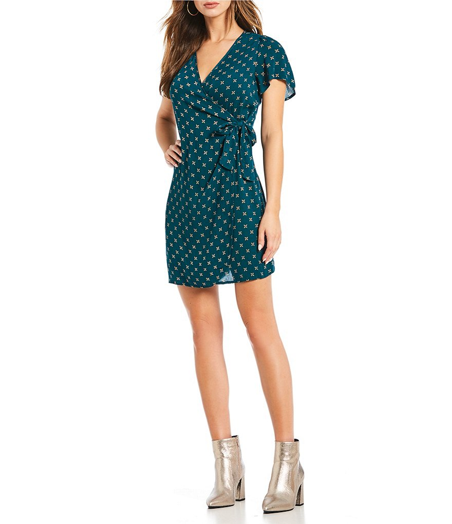 Patrons Of Peace Flutter Sleeve Wrap Dress