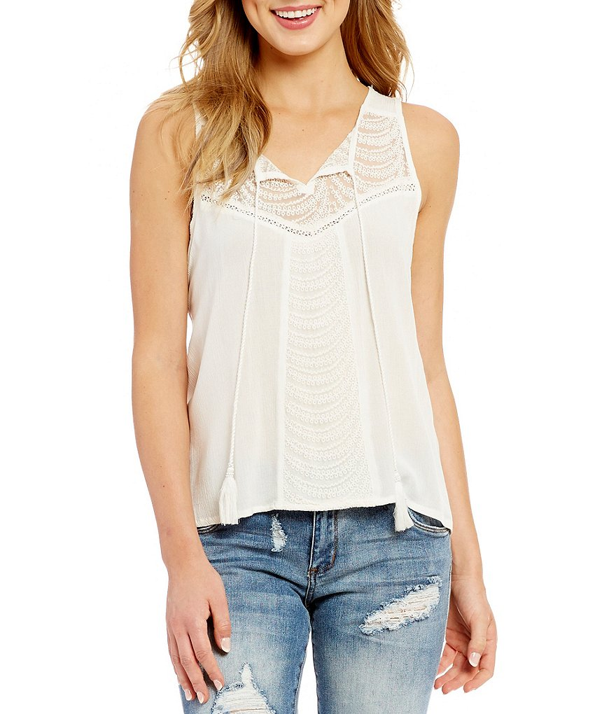 Patrons Of Peace Lace Yoke Tassel Tank Top