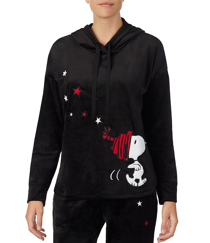 Peanuts Plush Appliqued-Snoopy & Stars Hoodie Lounge Tunic Top