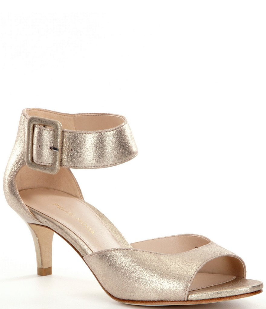 Pelle Moda Berlin Metallic Leather Ankle Strap Kitten-Heel Dress ...