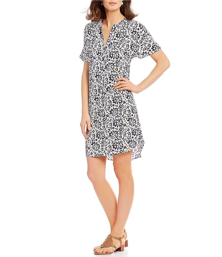 Pendleton Floral Print Split Round Neck Shift Dress