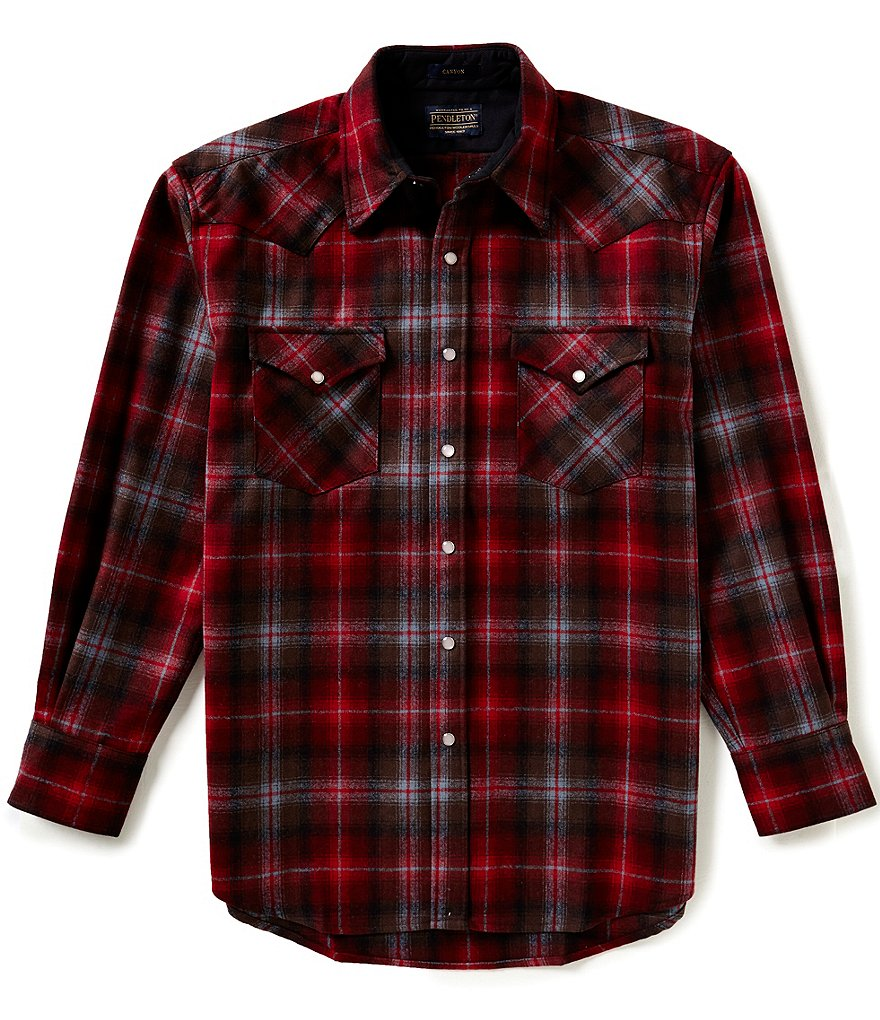 Pendleton Long-Sleeve Canyon Plaid Woven Wool Shirt