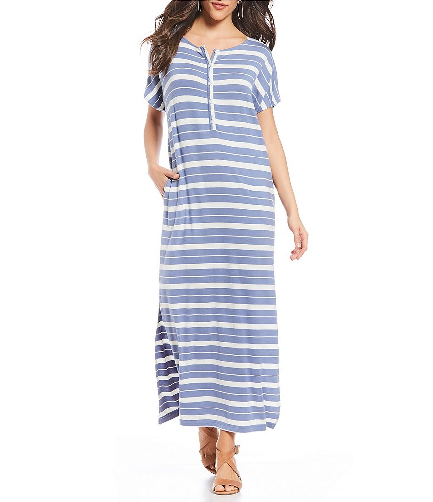 Pendleton Stripe Knit Jersey Henley Neck Maxi Dress